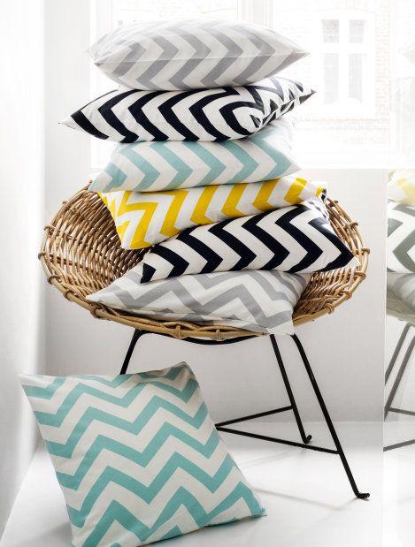 Cotton zig zag cushion cover   h&m Grey & Yellow (check)