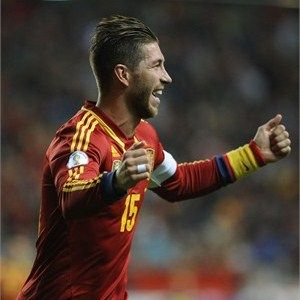Spain's defender Sergio Ramos celebrates after scoring during the FIFA 2014 World Cup qualifier foot