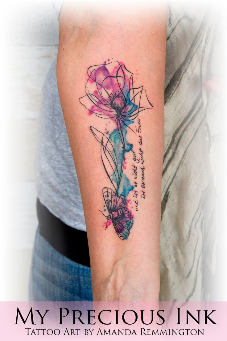 Watercolor tattoo artists in houston texas - Watercolor Flower Moth Tattoo My Precious Ink Artist Amanda Remmington