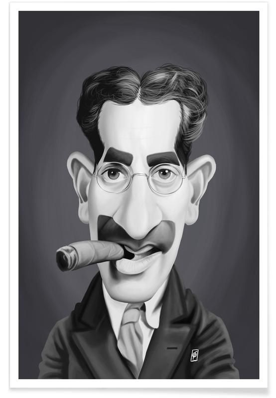 Groucho Marx as Premium Poster by Rob Snow | Creative | JUNIQE art | decor | wall art | inspiration | caricature | home decor | idea | humor | gifts