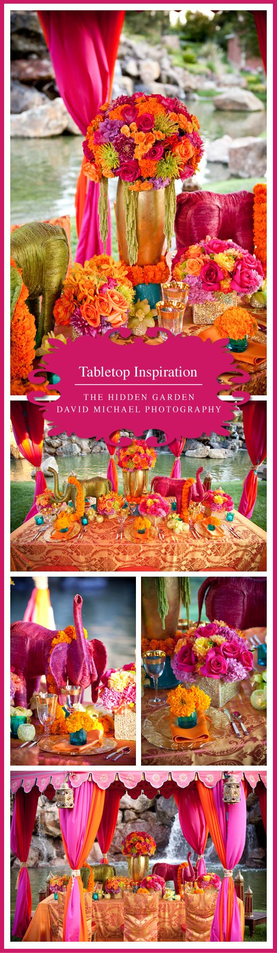 Indian wedding tablescape orange and pink, yarn wrapped elephants centerpieces, marigolds and teal accents, Floral Design: The Hidden Garden Linens: Wildflower Linen Rentals: Classic Party Rentals Rentals: Raj Tents Location: Four Seasons Westlake Village Photography: David Michael Photography