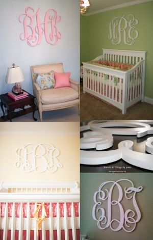 wooden letters for nursery ideas | Custom Wooden Nursery Initial Monogram Letters by LolaMonkey, $30.00 ...