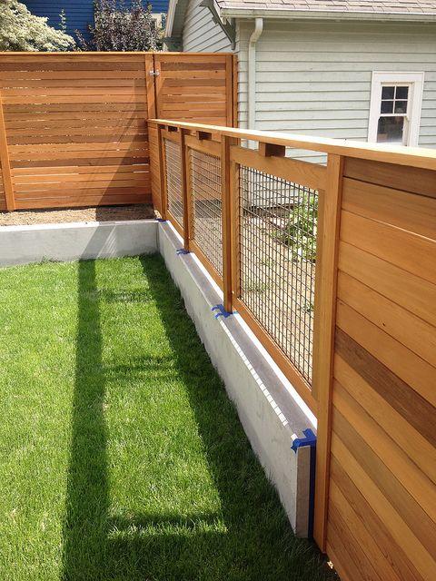 Modern Cedar Fence + Trellis, Poured Concrete Walls by pistilsdesign, via Flickr