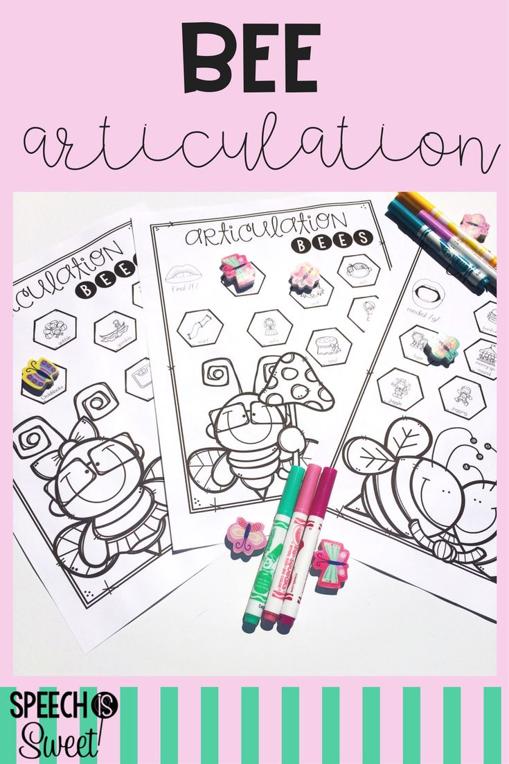 Coloring activities speech therapy - Bee Articulation Articulation Therapyspeech Activitiestherapy