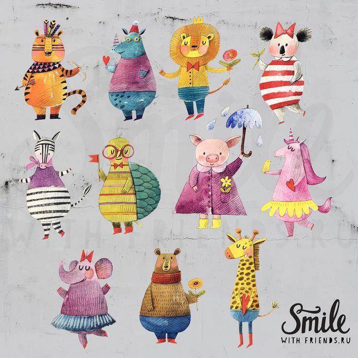 Веселые животные - 11 интерьерных стикеров