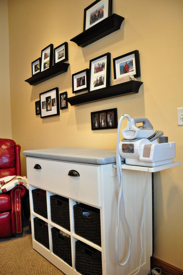 amazing ironing station.  Back flips up to give more cutting space.  Top comes off... cubby storage, etc.
