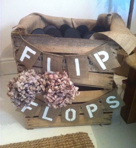 Hessian Burlap Flip Flops Rustic Vintage Wedding Banner Bunting Dancing Shoes