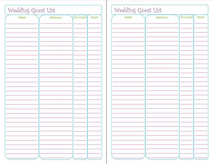 Free Printable Planner Pages by Peanut and Jellybean. Wedding Guest List