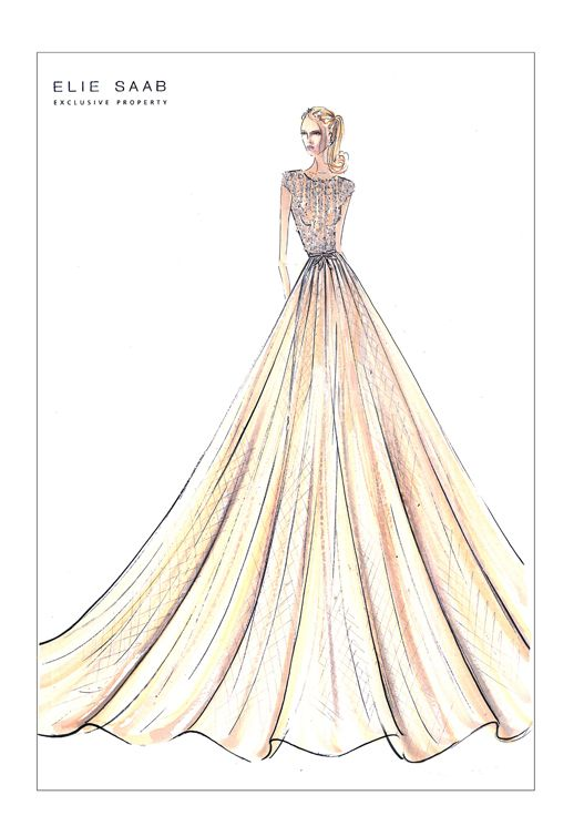 This is an Elie Saab sketch; I think it's important as a designer to look at successful fashion houses and their designs.