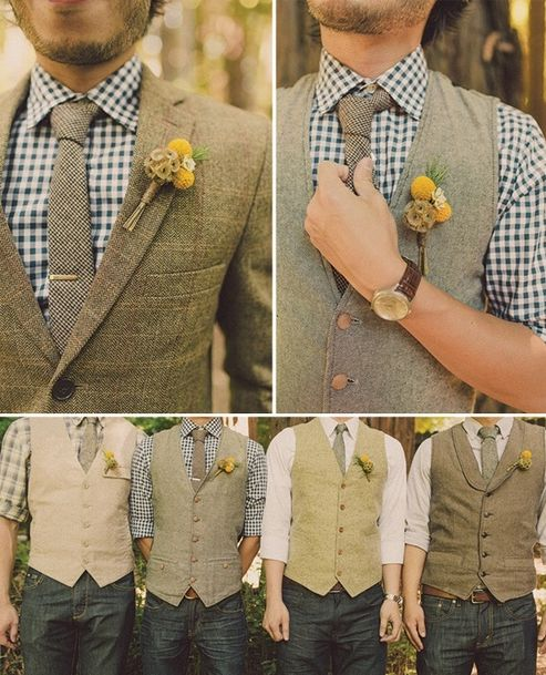 """LOVE this!  Coordinating, but NOT matching. groomsmen casual, comfortable and unique.  Classy! I have always thought that matchy match groomsmen look like a barbershop quartet :) LOL ! I think if you are going to ask someone to partake in your wedding, that #1, you should help with the cost of their outfit, and #2 embrace that they are unique and not a """"boy band"""".  These guys in this pic can easily still wear these cool vests, shirts etc... for everyday life as well."""