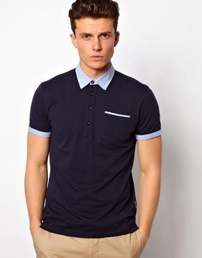 ASOS Navy Peter Werth Polo Shirt With Jersey Collar £45 (425242)