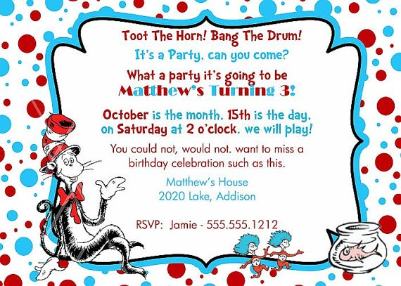 79 best images about Cat in the Hat Invite – Cat in the Hat Party Invitations