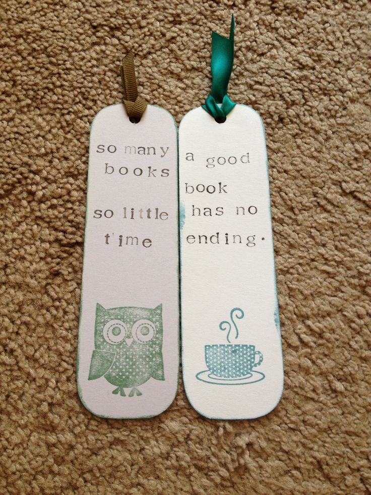 DIY bookmarks- could make these for little thank you presents!