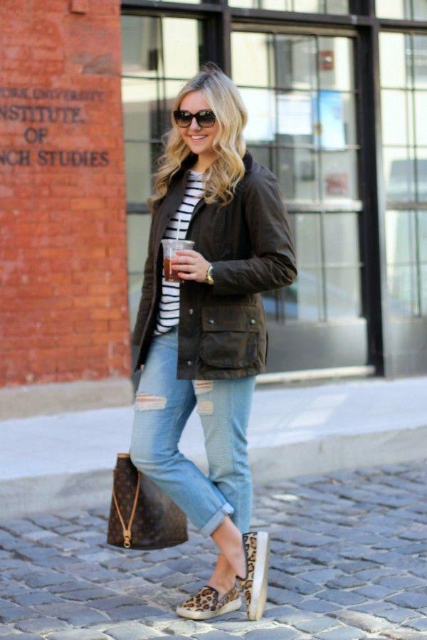 boyfriend jeans, striped tee, slip-on sneakers, utility jacket
