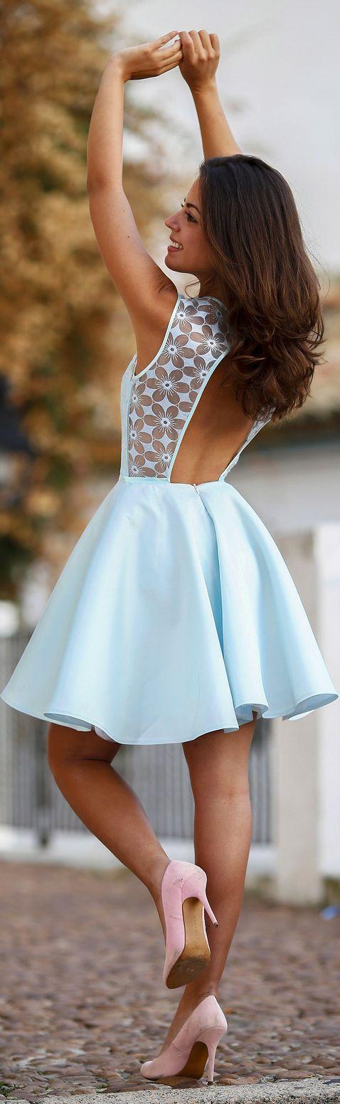 Baby Blue Floral Lace Detail Open Back Skater Dress