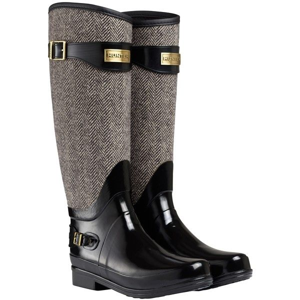 Hunter Regent Apsley Wellington Boots, Black (4 915 UAH) ❤ liked on Polyvore featuring shoes, boots, shoes - boots, rubber boots, hunter boots, shiny boots, black boots and buckle boots