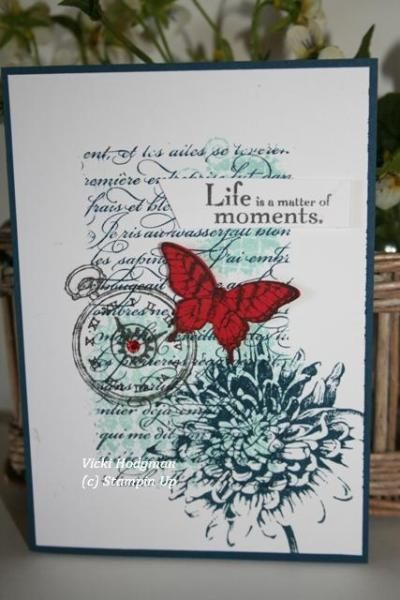 Butterfly Collage using. Clockworks, Blooming with Kindness, En Francais Script. Elegant Butterfly Punch and matching stamp set.