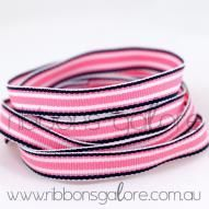 pink|navy surfboard striped grosgrain (9mm wide) [per metre] - $1.10 : Ribbons Galore, your online store for the best ribbons #ribbons #ribbonsgalore #stripedgrosgrain