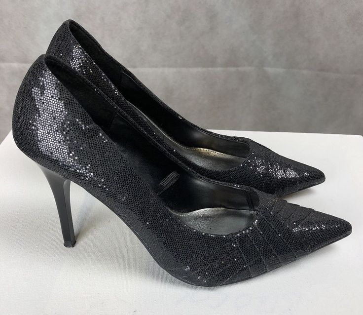 Ladies Black Sparkly High Heel Shoes Red Herring Size 6 #RedHerring #CourtShoes #Party