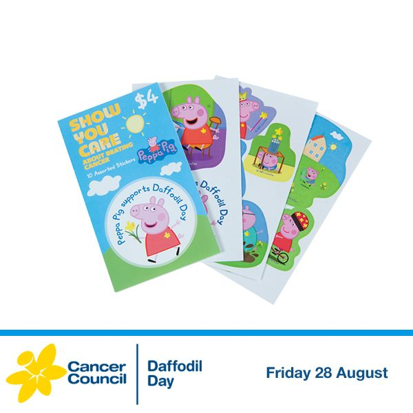 These adorable Peppa pig Australia stickers are sure to inspire creativity in your little one's craft and play time, all while supporting Cancer Council's vital work. Find them exclusively at your nearest Coles or Coles Express store: www.daffodilday.com.au