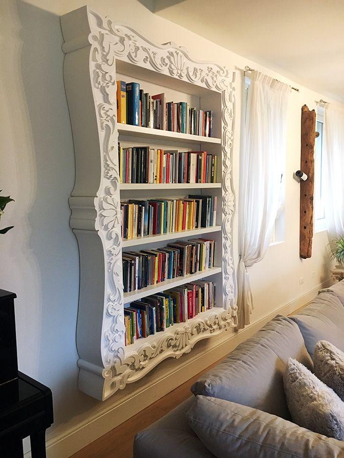 Libreria barocca in polistirolo alta densità rivestito di resina poliuretanica. Disponibile su www.materik.it #libreria #cornicelibreria #libreriabarocca