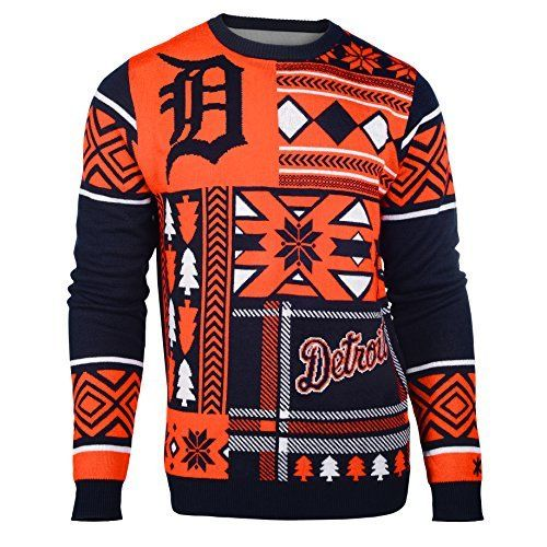 MLB Detroit Tigers Patches Ugly Sweater, Blue, Large by Klew. MLB Detroit Tigers Patches Ugly Sweater, Blue, Large. Large.