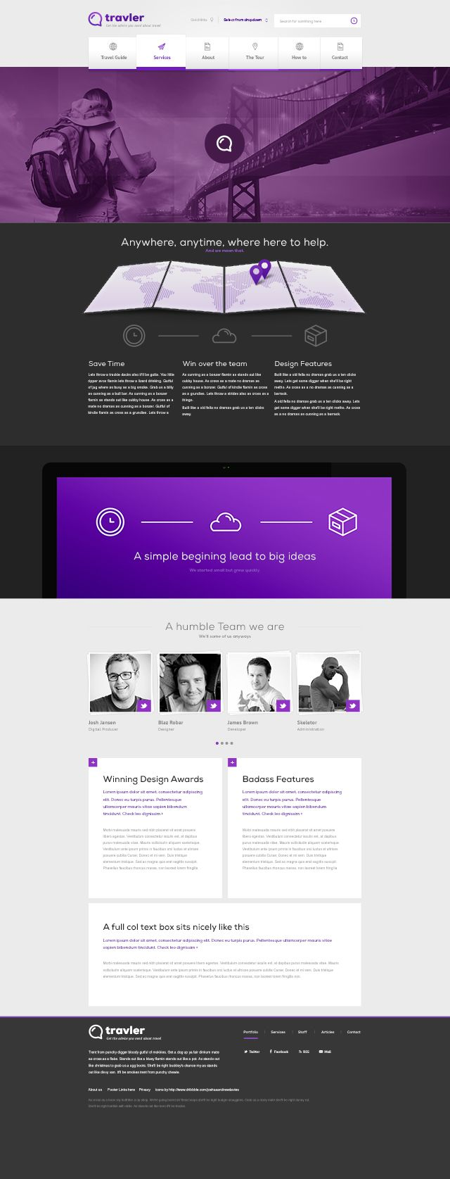Free PSD Webdesign - Travler | #it #web #design #layout #userinterface #website #webdesign <<< repinned by www.BlickeDeeler.de Follow us on www.facebook.com/BlickeDeeler