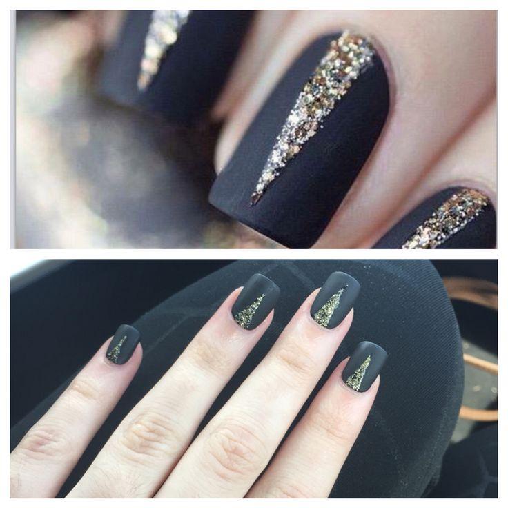 Matte Black Glitter Nail Polish: Matte Black Nails With Gold Glitter Detailing Acrylic