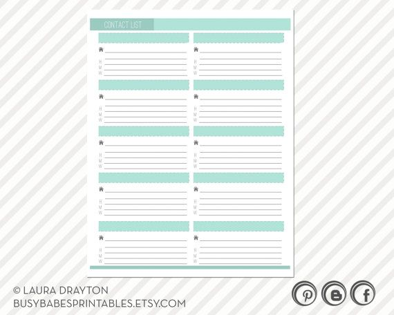 Contact List Printable includes five by busybabesprintables - printable contact list
