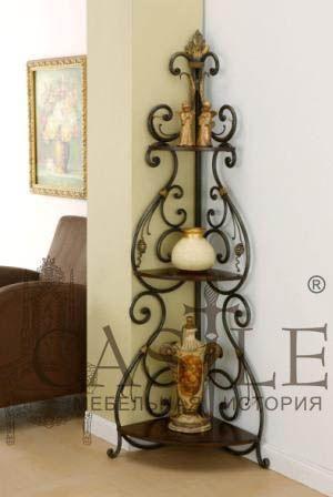 Этажерка с ажурной кованой стенкой из коллекции Castle. Этажерка имеет три полки из массива дерева. Красивая и долговечная этажерка прекрасно подойдет для загородных домов, коттеджей и квартир. Впишется практически в любой интерьер: в классическом стиле, стиле Прованс или современном стиле.