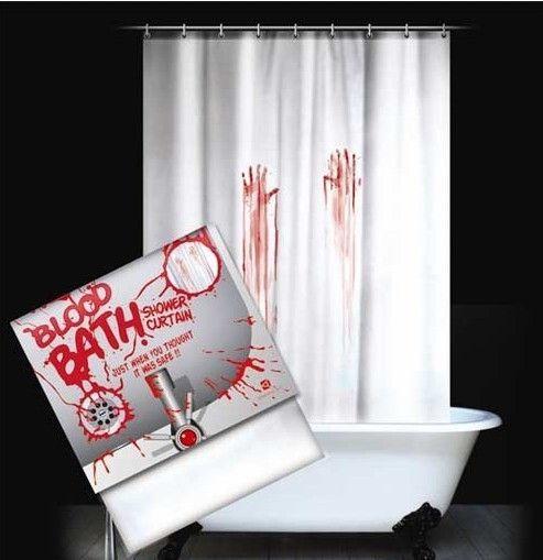 Бесплатная доставка высокое качество хэллоуин подарок полиэстер водонепроницаемый ванная комната шторы Blooding HandsShower шторы 180 * 180 см ETH030 купить на AliExpress