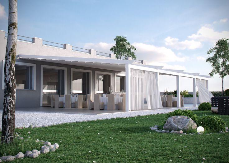 A pergola szinterezett alumínium szerkezete az egyik oldalon falra vagy mennyezetre rögzül, a másik oldalon lábakon támaszkodik. Esztétikus kiegészítője modern és antik épületeknek egyaránt.
