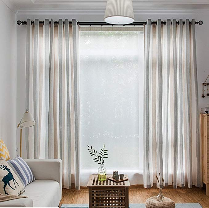 Leadtimes Stripe Sheer White Curtains Semi Sheer Linen Panels