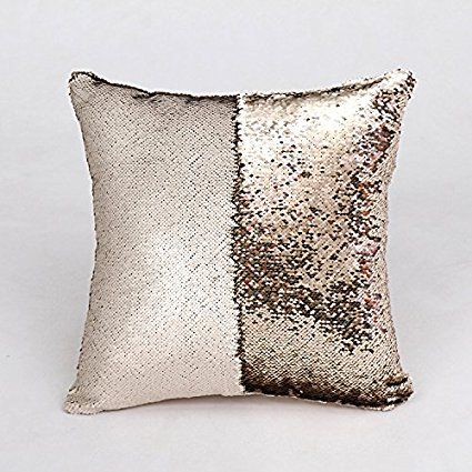 """Amazon.com: SNUG STAR Two-color Decorative Pillow Case Square Paillette Throw Mermaid Sequins Cushion Covers 16 X 16"""" for Home Decor Party/Sofa/Bed (Matt champagne and Light Gold): Bedding & Bath"""