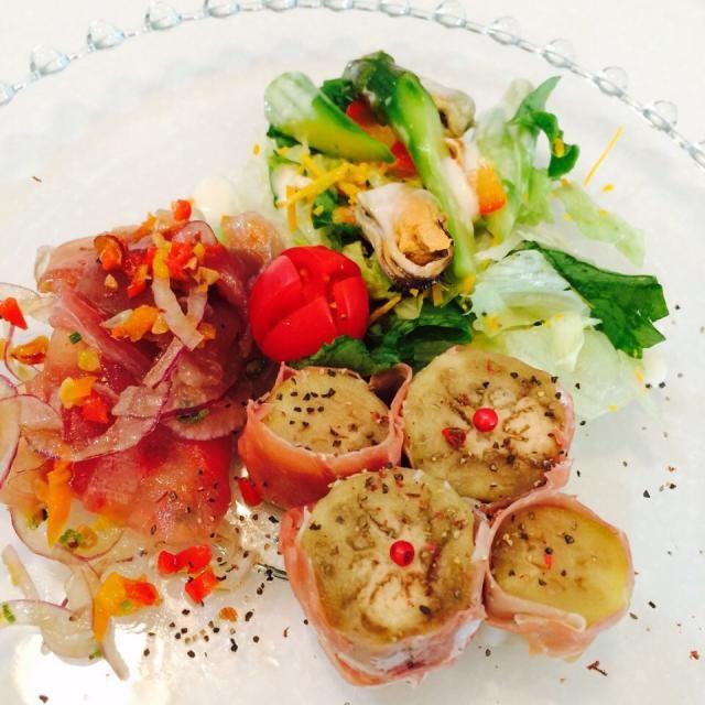 ナスの生ハム巻き アスパラとムール貝のサラダ マグロのマリネ - 37件のもぐもぐ - ブランチ 前菜 by yumenimishi101