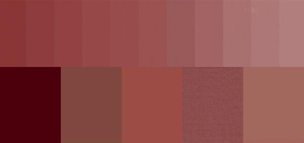 Cartela de cores com tons e nuances da cor Marsala.
