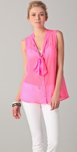 gorgeous neon tie front blouse