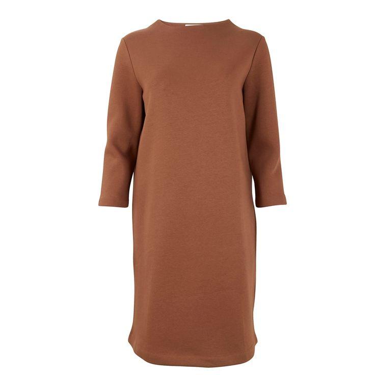 Sweat jurk met hoge hals, Camel