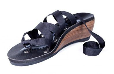 """I have GOT to get these! Mohop Women's Thong Mid Wedge Sandal with 5 Interchangeable Ribbons Sustainably-sourced wood rubber sole Infinitely Interchangable Design 5 Pairs of Ribbons Built in Arch Support Approximately 2.5"""" (64mm) Solid Wood Heel Super Comfortable Ulta Cloud Padding"""