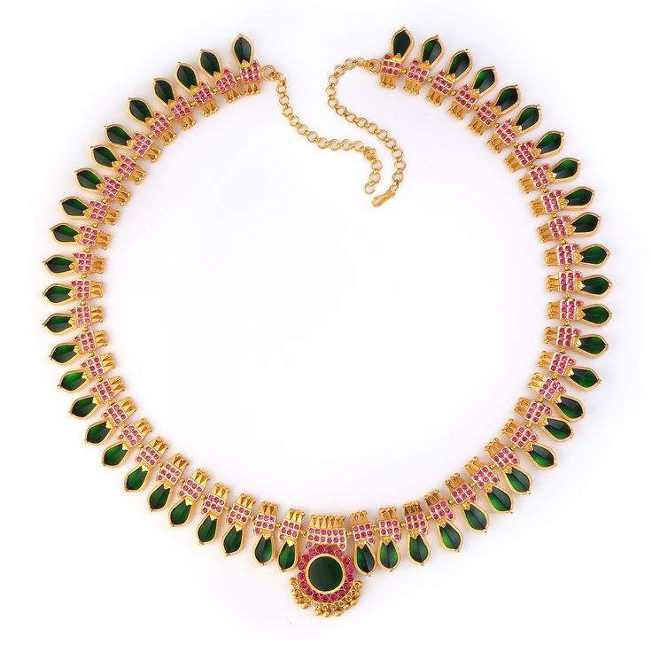 7-Stone Green Nagapadam Necklace