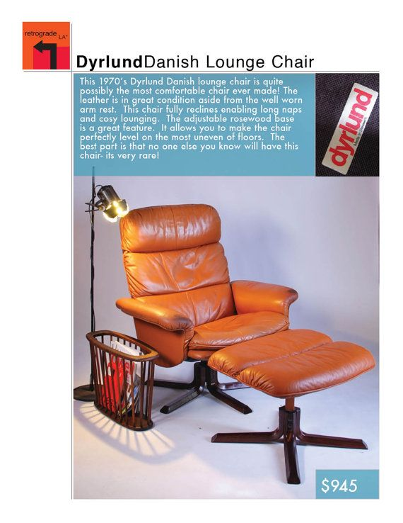 Dyrlund Leather Lounge Chair Recliner 1970's in by RetrogradeLA, $945.00