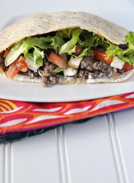 Greek Bison Meat Pita Pocket Recipe with Greek Yogurt Sauce