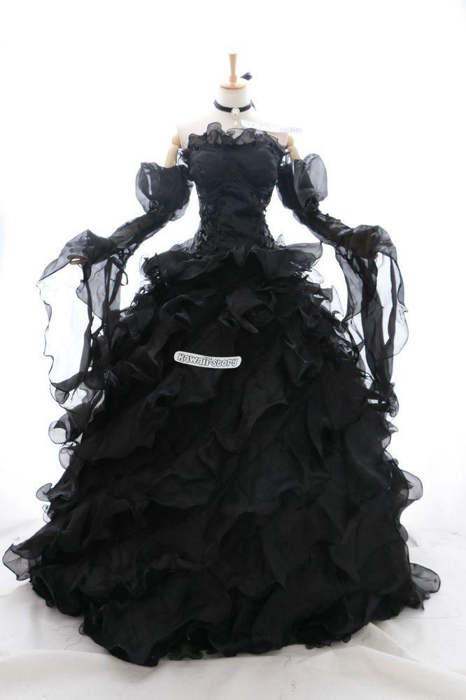 a-010 XL/XXL Braut schwarz Victorian Cosplay Kost…