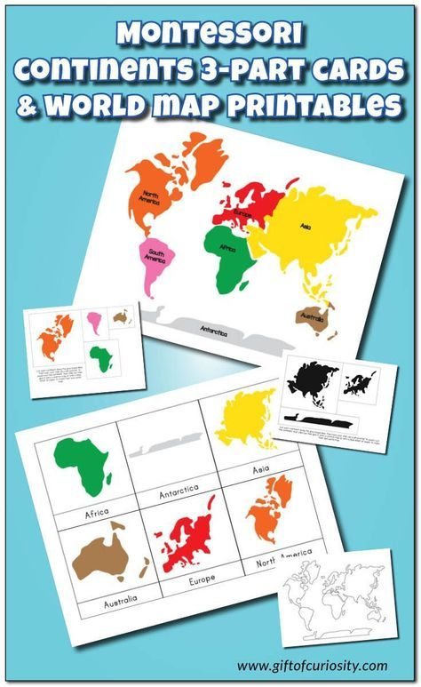 Montessori Continents 3-Part Cards and Montessori World Map and Continents printables with 3 color options and lots of possible activities. This is a FANTASTIC resource for teaching geography to kids!    Gift of Curiosity