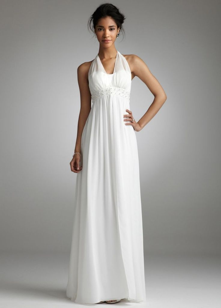 Davids Bridal Long Chiffon Over Charmeuse Gown With Split Front Style