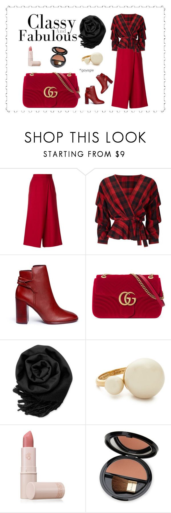 """""""Classy and Fabulous"""" by anggiswastika on Polyvore featuring PT01 Pantaloni Torino, Miss Selfridge, Mercedes Castillo, Gucci, Gearonic, Kate Spade, Lipstick Queen, Dr.Hauschka and gayagie"""