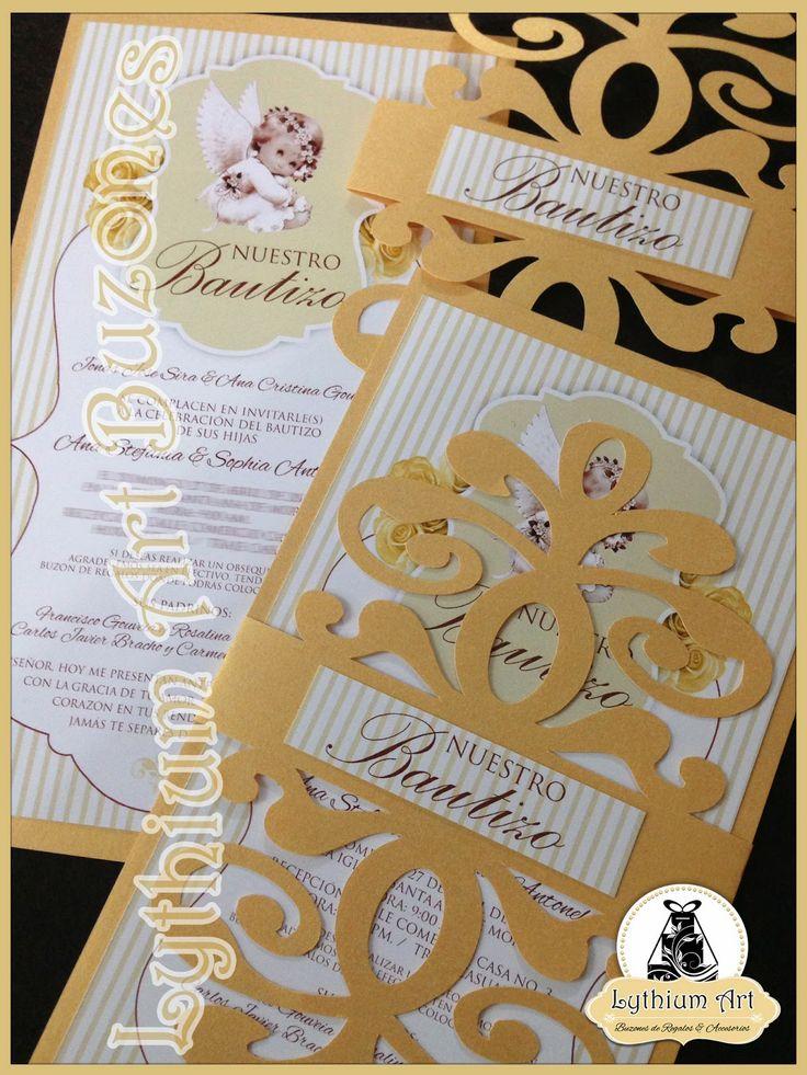 "Invitaciones de Bautizo ""Flourish"" Ana & Sophia | Lythium Art® Design by: Yil Siritt"