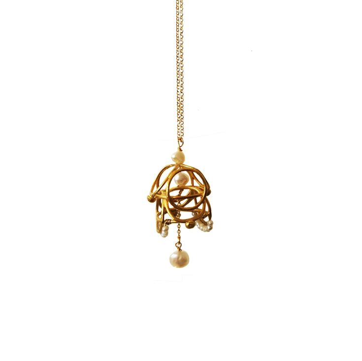 Long lace pendant with chain Luxury pendant with pearls Designer pendant