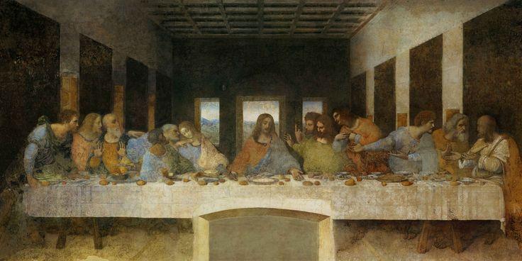The last supper - Everyone knows this beautiful fresco by Leonardo da Vinci. It was painted in 1495–1498. It's in Basilica di Santa Maria delle Grazie in Milano, Italy.