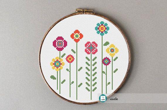 Happy flowers 2 cross stitch patternmodern pattern PDF DIY
